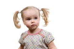 Bebé con los ponytails imagenes de archivo