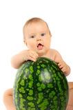 Bebé con una sandía Fotografía de archivo libre de regalías