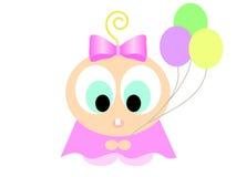 Bebé con vector de los globos Imágenes de archivo libres de regalías