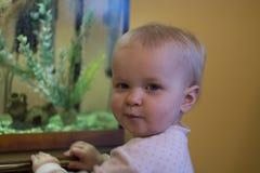 Bebé curioso por el acuario Imagenes de archivo