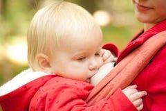 Bebé de amamantamiento de la madre en parque Fotografía de archivo libre de regalías