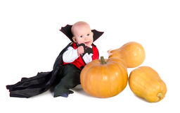 Bebé de Halloween com pumpking 5 Foto de Stock Royalty Free