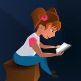 Bebé de la historieta con la tableta plana libre illustration