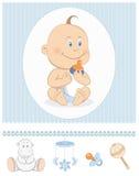 Bebé de la historieta con los iconos de la botella y del juguete de leche Fotografía de archivo