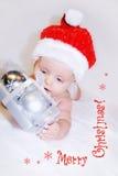 Bebé de la Navidad del añil. Presente Fotos de archivo