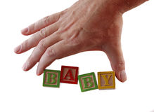 Bebé de la palabra de la mano Imagen de archivo libre de regalías