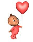 Bebé de Toon con el globo rosado del corazón Imagen de archivo
