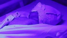 Bebé debajo de la lámpara ultravioleta almacen de video