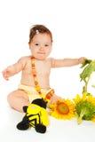 Bebé del girasol Fotografía de archivo