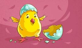 Bebé del pollo tramado del huevo Polluelo amarillo Ilustración del vector stock de ilustración