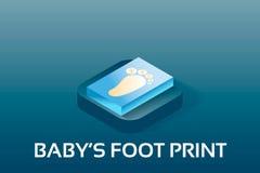 Bebé del vector simple e iconos isométricosde PregnancyHuella del bebé Icono isométrico del estilo del símbolo del vector Imágenes de archivo libres de regalías