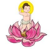 Bebé dibujado mano Buda llevado con Lotus ilustración del vector