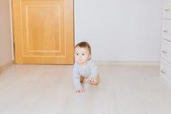 Bebé divertido de arrastre dentro en casa Fotos de archivo libres de regalías