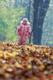 Bebé divertido que juega con las hojas Imagen de archivo