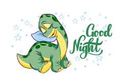 Bebé durmiente Dino con las buenas noches de la tipografía Ejemplo exhausto de la mano del vector del pequeño dinosaurio Para el  libre illustration