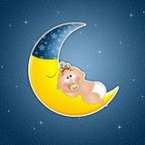Bebé durmiente en la luna en el claro de luna Imagen de archivo libre de regalías