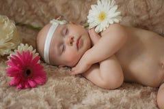 Bebé durmiente en las flores imágenes de archivo libres de regalías