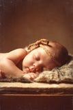 Bebé durmiente recién nacido en caja de madera con el girasol y la cebolla Imágenes de archivo libres de regalías