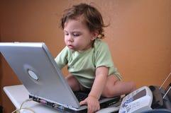 Bebé duro en el trabajo sobre su computadora portátil Imagen de archivo libre de regalías