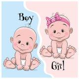 Bebé e menina ilustração stock