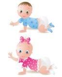 Bebé e menino Fotos de Stock