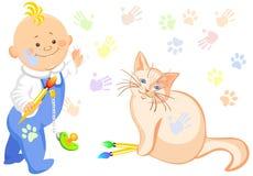 Bebé e um desenho do gato Imagens de Stock