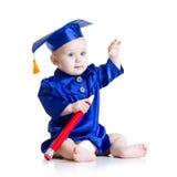 Bebé elegante en ropa del académico imagenes de archivo