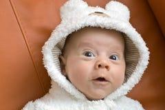 Bebé em um terno do urso Imagens de Stock Royalty Free