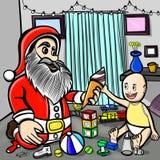 Bebé emocionado mientras que ve a Papá Noel el dar del helado él