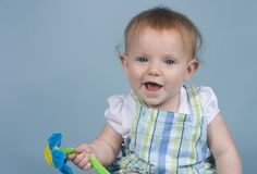 Bebé en azul Imagen de archivo