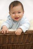 Bebé en cesta Imagen de archivo libre de regalías