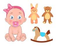 Bebé en cinta rosada con el pacificador y los juguetes libre illustration