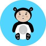 Bebé en el ejemplo del vector del traje de la panda Foto de archivo