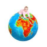 Bebé en el globo Foto de archivo libre de regalías