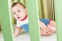 Bebé en el pesebre que mira a través de una cerca de seguridad Fotos de archivo
