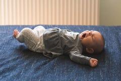 Bebé en el primer azul de la manta del fondo imagen de archivo