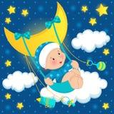 Bebé en el vector de la luna Fotos de archivo