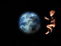 Bebé en espacio Foto de archivo libre de regalías