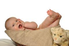Bebé en la cesta que rasguña gomas Imagenes de archivo