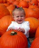 Bebé en la corrección de la calabaza Imagenes de archivo