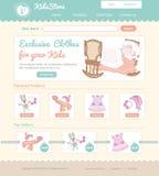 Bebé en la línea plantilla del web de la tienda Imágenes de archivo libres de regalías