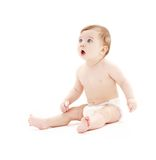 Bebé en pañal con el cepillo de dientes Imágenes de archivo libres de regalías