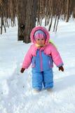 Bebé en parque del invierno Fotografía de archivo