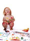 Bebé en pintura Foto de archivo libre de regalías