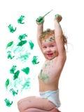 Bebé en pintura Imágenes de archivo libres de regalías