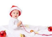 Bebé en sombrero de la Navidad Foto de archivo libre de regalías