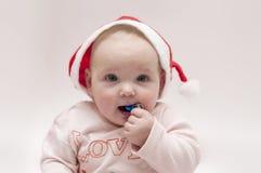 Bebé en tema de Navidad Fotos de archivo