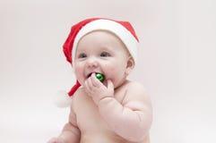 Bebé en tema de Navidad Foto de archivo