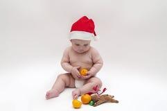 Bebé en tema de Navidad Imagen de archivo