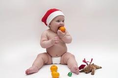 Bebé en tema de Navidad Fotografía de archivo